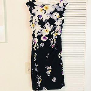 Lauren floral ruffle waist knee length dress 4P